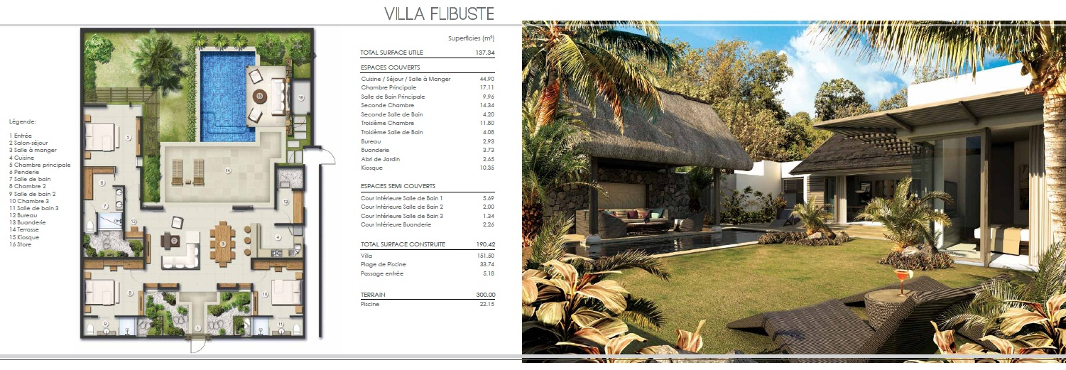 Villas ile maurice for Plan de villa en l